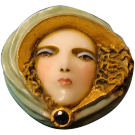 "Sylvia Massey Lady Face  Brooch "" Wind Swept Siren """