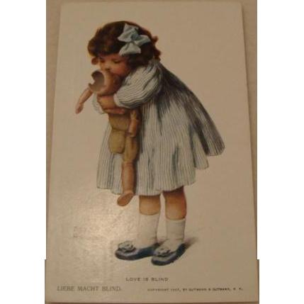 """1907: Original Bessie Pease Gutmann Postcard """" Love Is Blind """""""