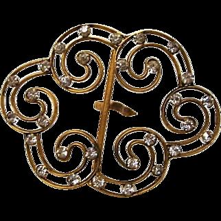 Antique Victorian: LARGE Brass Crystal Studded Belt Buckle