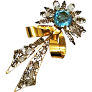 Circa 1940: The Big Blue Bow Brooch - Marked STERLING, Desinger F.H.