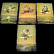 "Circa 1910: "" Journey To The Moon "" Rare Set German Postcards"