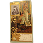 1902 :  Original Mucha Designed Advertisement  Postcard for Sarah Bernhardt & Lefevre-Utile Biscuits