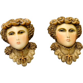 "Sylvia Massey Lady Face Brooch "" Edwardian Maiden """