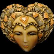 """Sylvia Massey Lady Face Brooch """" Valentine Vamp"""""""