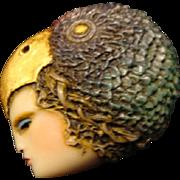 "Sylvia Massey Lady Face Brooch "" Parrot's Perch"""