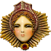 "Sylvia Massey Lady Face Brooch "" Elizabethan Queen"""