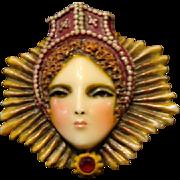 """Sylvia Massey Lady Face Brooch """" Elizabethan Queen"""""""