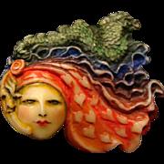"Sylvia Massy Lady Face Brooch "" Moon Goddess Rainbow """