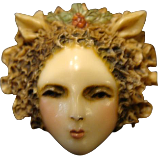 "Sylvia Massey Lady face Brooch "" Femme Fatale Fawn """