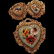 Vintage Micro Mosaic Heart Brooch & Earring Set
