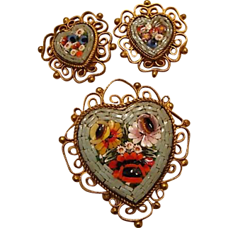 Vintage Micro Mosaic Heart Brooch & Earring Set