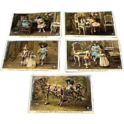 1907: French Bebe & Polichinelle Hand Tinted Postcard Set