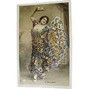 Original Hand Tinted and Glittered ,Burlesque Postcard by Walery