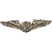 1940's: Sterling & Rhinestone Aviation Wings Brooch