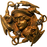 Art Nouveau; Gold Plated Watch Pin
