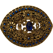 Edwardian Era : Golden Belt Buckle with Dazzling Blue Paste Stones