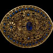 Edwardian Era : Golden Belt Buckle with Dazzling Blue Paste Stones