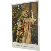 French Polichinelle Doll Christmas Postcard