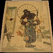 """1881: Extremely Rare , Louis Prang Chirstmas Card """" A Modern Day Santa """""""