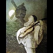 "Circa 1900: "" Claire de' Lune "" Original Etching with Pierrot"