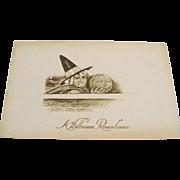 "Circa 1910: Gibson, "" Halloween Remembrance "" Witch & Pumpkin Postcard"