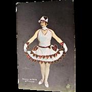 "Casino de Paris Burlesque Valentine Postcard ""Melle Zazani """