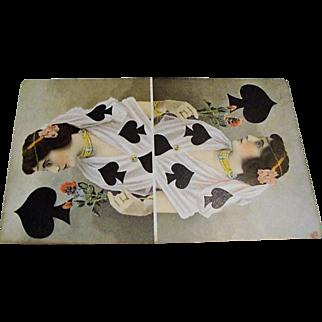 """Original Tuck's  """" Queen of Clubs """" Postcard"""