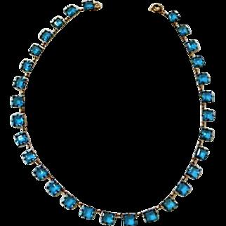 Circa 1925: Gorgeous Signed Czechoslovakia ,  Azure Blue Necklace.