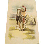 Circa 1910: Schlesinger Full Figure Indian Brave wtih Horse Postcard