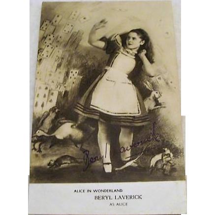 "Original Beryl Laverick Signed, "" Alice in Wonderland "" Postcard"