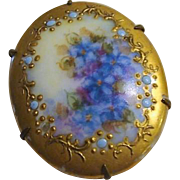 "Endearing Victorian Hand Printed Brooch "" Forget- Me -Nots """