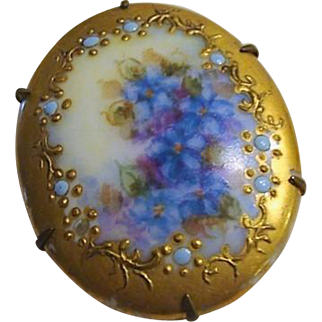 """Endearing Victorian Hand Printed Brooch """" Forget- Me -Nots """""""