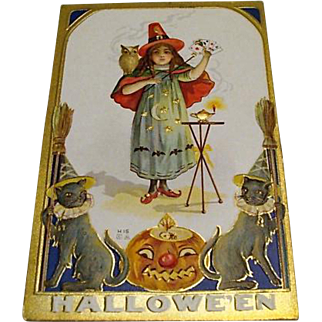 "Circa 1909: "" Little Witch Magic "" E. Nash Halloween Postcard"