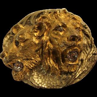 Majestic Golden Victorian Lion & Lioness Sash Brooch