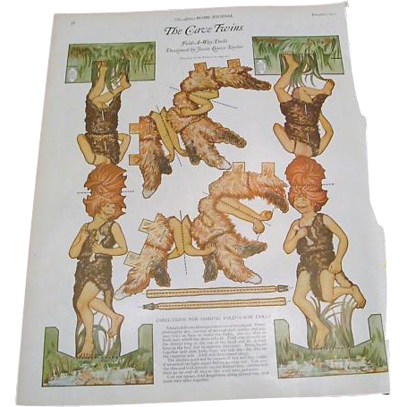 "1922: Collection of "" Twin Paper Dolls "" by Jessie Louise Taylor"