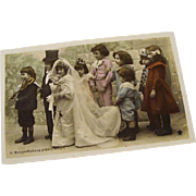 "Circa 1910: Original Complete Set "" Tom Thumb Wedding "" Hand Tinted RPP"