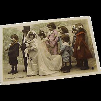 "Circa 1910: Original Complete Set "" Tom Thumb Wedding "" Hand Tinted RPP"