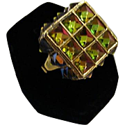 1960's : Very Very Rare Vendome Color Changing Pyramid Ring