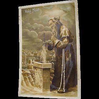 "Circa 1910: RPP "" Up on the Roof Tops ""  Father Christmas Postcard"