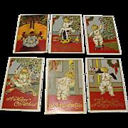 "1909: Complete Set Christmas Postcards : "" Toddler & Toys"""