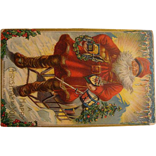 "1910: "" Santa's Sunrise "" Christmas Postcard"