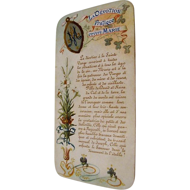 Circa 1880: Heavenly, Illuminated French Holy Card Prayer Booklet