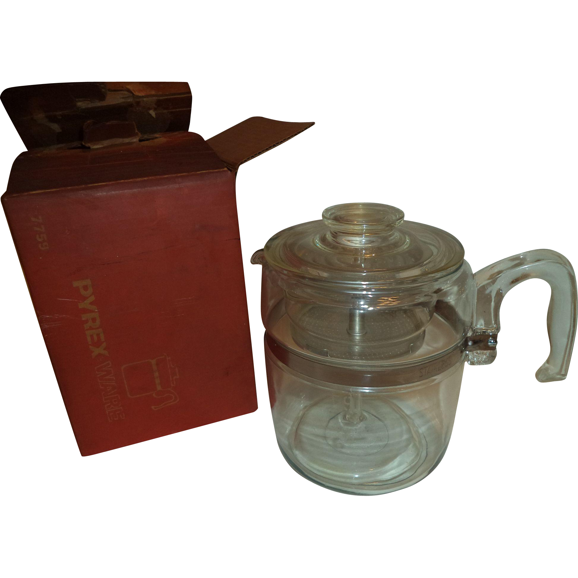 Mib pyrex 9 cup range top percolator coffee pot sold on for Best coffee percolator