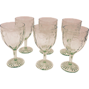 Set of 6 Anchor Hocking Green Cameo Water Glasses