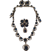 Stunning Kramer Complete Parure with clear and blue Rhinestones