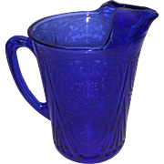 Hazel Atlas Cobalt Royal Lace Pitcher with Ice Lip