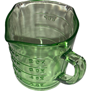 Green Depression Glass Three Spout Measuring Cup with Kelloggs Advertising