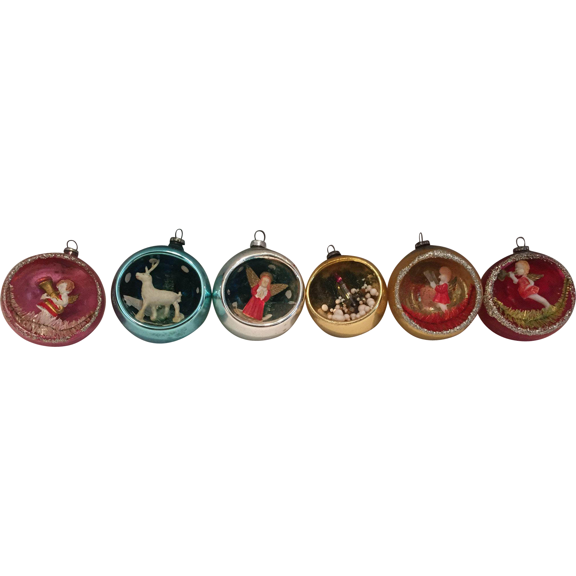 Set of 6 vintage diorama christmas ornaments red tag for Christmas ornaments sale