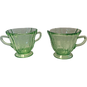 Green Depression Sylvan Parrot Cream and Sugar By Federal Glass