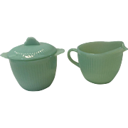 Fire King Jane Ray Jadite Cream and Sugar with Lid Set